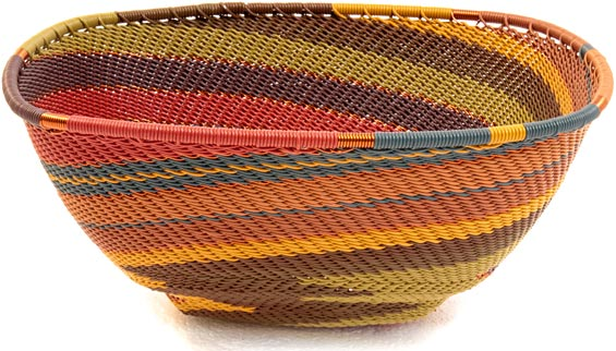 African Basket - Zulu Wire - Large Almost Square #37157