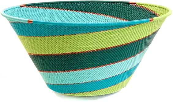 African Basket - Zulu Wire - Extra Large Funnel Bowl #37216