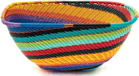 African Basket - Zulu Wire - Large Almost Square #39578