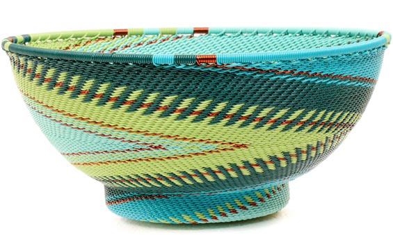 African Basket - Zulu Wire - Bowl with Base #51001