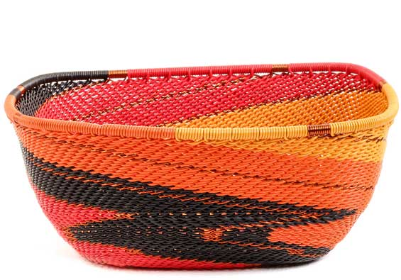 African Basket - Zulu Wire - Square Bowl #53285