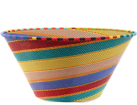 African Basket - Zulu Wire - Extra Large Funnel Bowl #58640