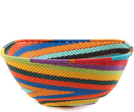 African Basket - Zulu Wire - Large Almost Square #62687