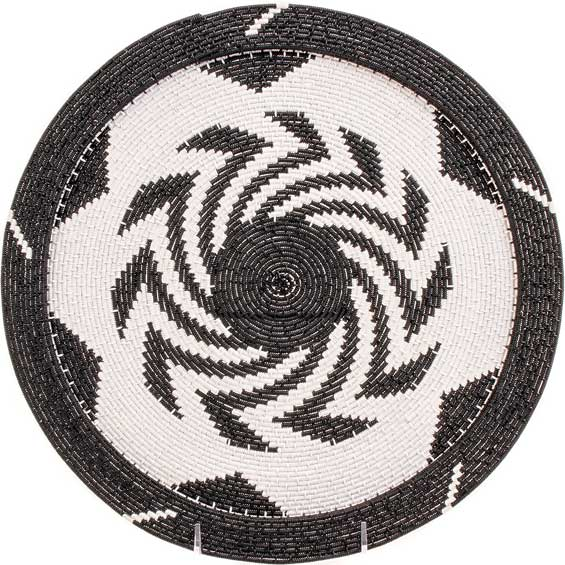 African Basket - Zulu Wire - Flat Coil Weave Plate - 12.5 Inches Across - #66344