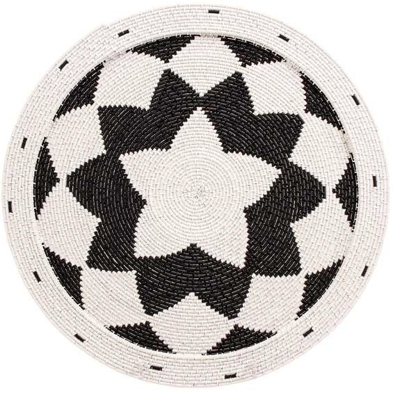 African Basket - Zulu Wire - Flat Coil Weave Plate - 12.75 Inches Across - #66346
