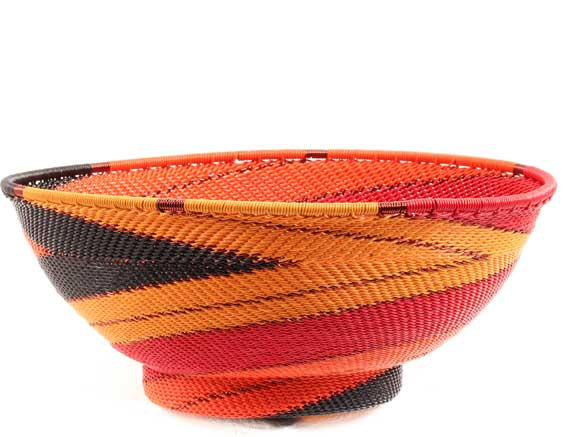 African Basket - Zulu Wire - Bowl with Base #68608