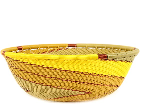African Basket - Zulu Wire - Small Wide Bowl #74179