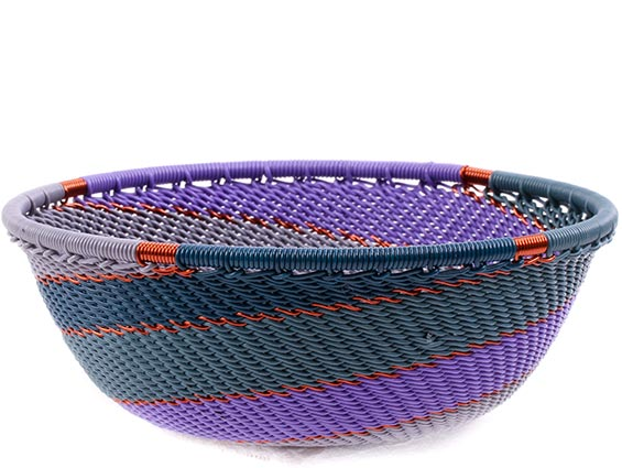 African Basket - Zulu Wire - Small Wide Bowl #75687