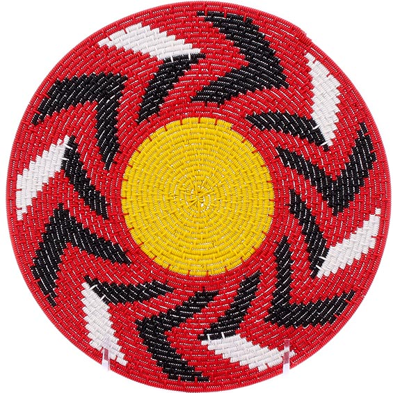African Basket - Zulu Wire - Flat Coil Weave Plate -  8 Inches Across - #76356