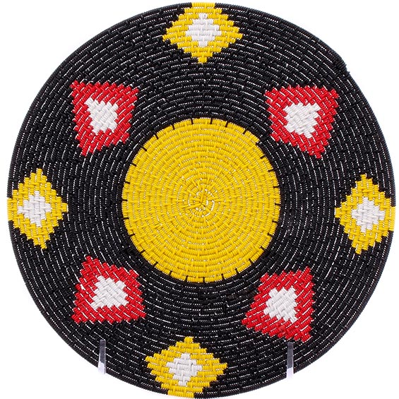 African Basket - Zulu Wire - Flat Coil Weave Plate -  8 Inches Across - #76359