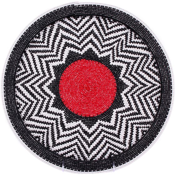 African Basket - Zulu Wire - Flat Coil Weave Plate - 13 Inches Across - #76365