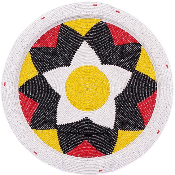 African Basket - Zulu Wire - Flat Coil Weave Plate - 13 Inches Across - #76366