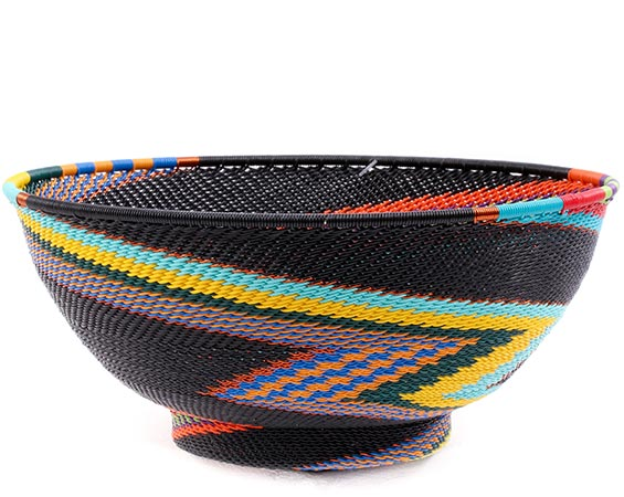 African Basket - Zulu Wire - Bowl with Base #76682