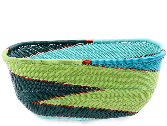 African Basket - Zulu Wire - Square Bowl #76688
