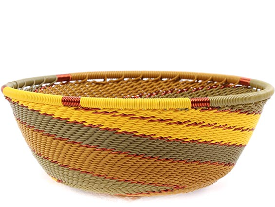 African Basket - Zulu Wire - Small Wide Bowl #77232