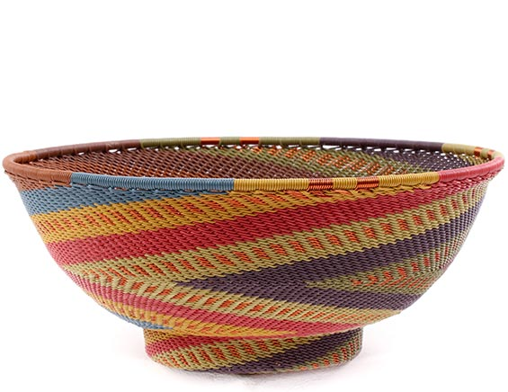 African Basket - Zulu Wire - Bowl with Base #77351