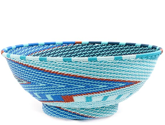 African Basket - Zulu Wire - Bowl with Base #77355