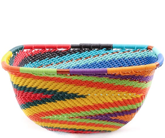African Basket - Zulu Wire - Small Square Bowl #78029