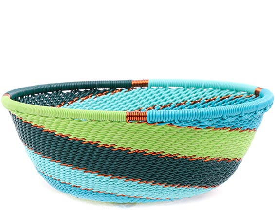 African Basket - Zulu Wire - Small Wide Bowl #78696