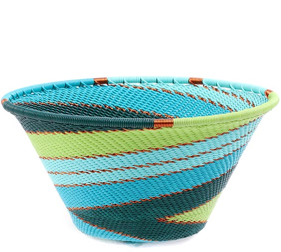 African Basket - Zulu Wire - Small Funnel Bowl #78724