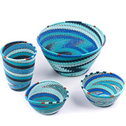 African Telephone Wire Baskets - Desk Set - 4 Pieces - #78823