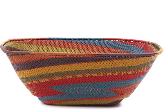African Basket - Zulu Wire - Extra Large Square Bowl #79317