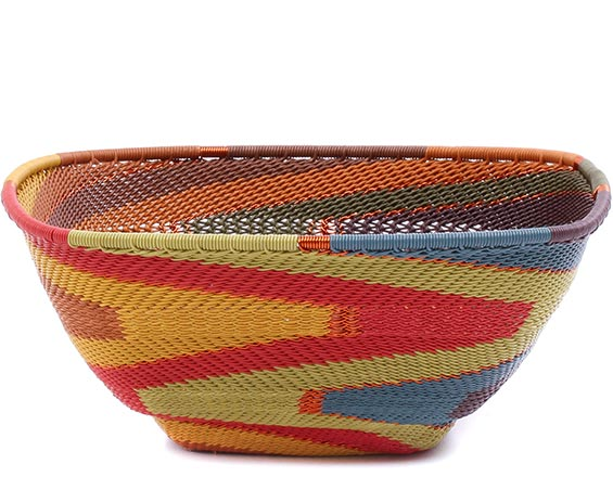 African Basket - Zulu Wire - Large Almost Square #79373