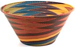 African Basket - Zulu Wire - Extra Large Funnel Bowl #9943