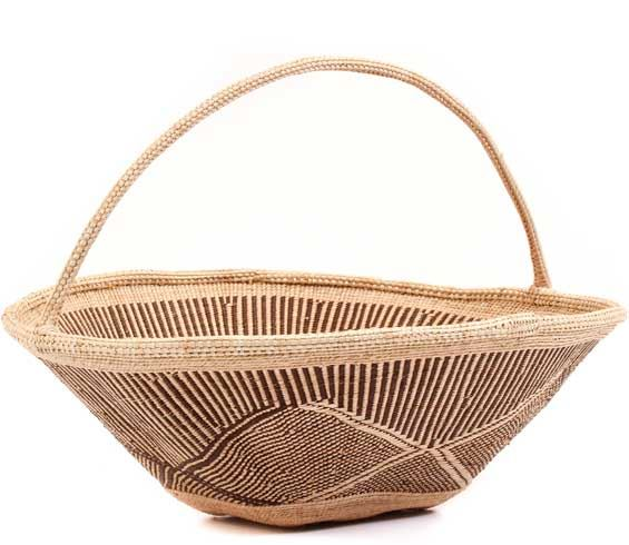 African Basket - Tonga - Zimbabwe Binga Gathering Basket - 18 Inches Across - #62369