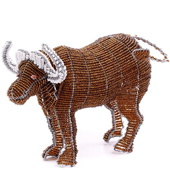 "Zimbabwe - Shona Beaded Water Buffalo Figurine -  9"" Across - #76424"