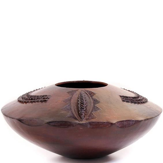 African Pottery - Zulu Ukhamba Pot - 10 Inches Across - #55055