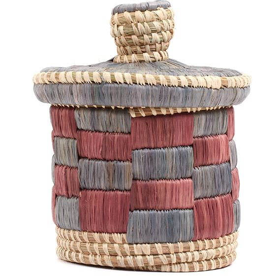 African Basket - Burundi Raffia Coil Weave Canister - 6.5 Inches Tall - #72154