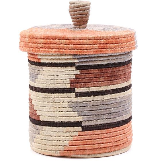 African Basket - Burundi Sisal Coil Weave Canister - 7.5 Inches Tall - #76492