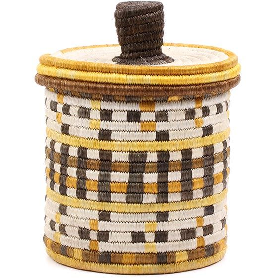 African Basket - Burundi Sisal Coil Weave Canister - 7.5 Inches Tall - #76513
