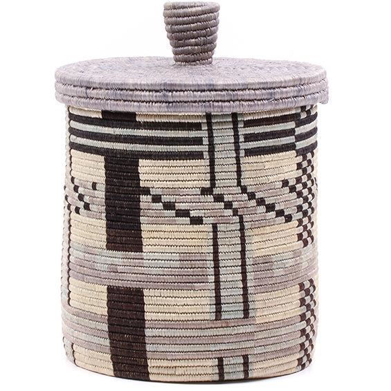 African Basket - Burundi Sisal Coil Weave Canister - 9.75 Inches Tall - #76522