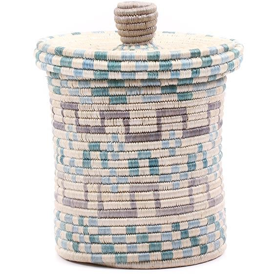 African Basket - Burundi Sisal Coil Weave Canister - 9.75 Inches Tall - #76540
