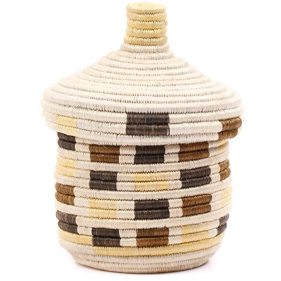 African Basket - Burundi Sisal Coil Weave Canister - 8.5 Inches Tall - #76555