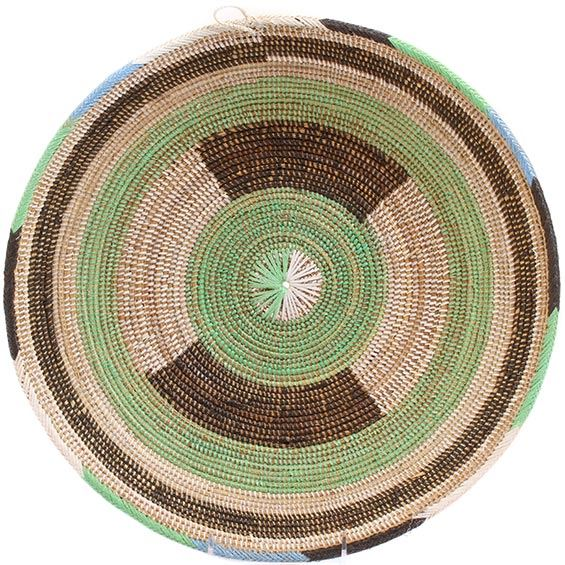 African Basket - Cameroon Coil Weave Bowl - 15.25 Inches Across - #72583