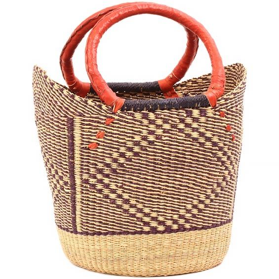African Basket - Ghana Bolga - Medium Yikene Tote - 13 Inches Across - #81140