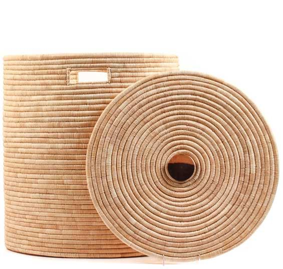 African Basket - Malawi - Large Lidded Hamper - 18 Inches Across - #66786