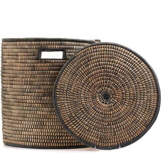 African Basket - Malawi - Small Lidded Hamper - 14 Inches Across - #68542