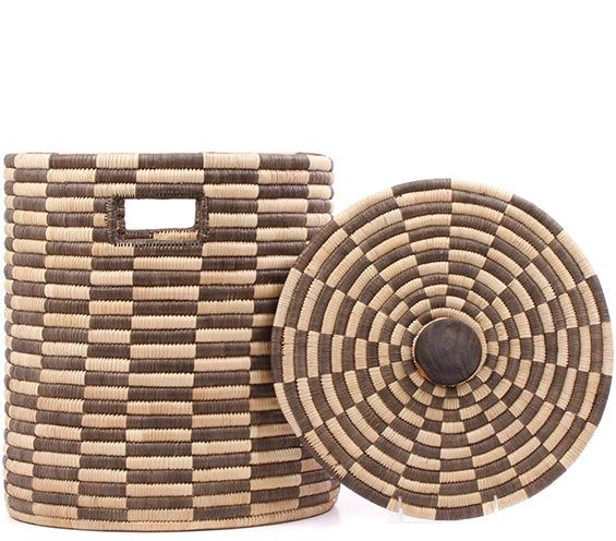 African Basket - Malawi - Small Lidded Hamper - 14 Inches Across - #78229