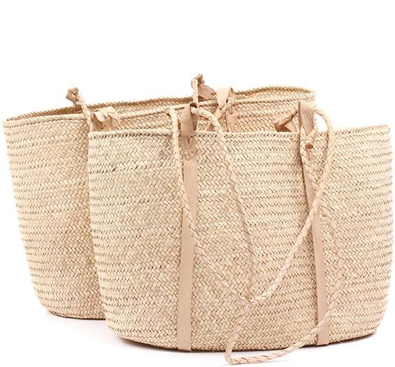 African Market Basket - Set of 2 Tuareg Shopping Totes - Approximately 18.5 Inches Across - #78967