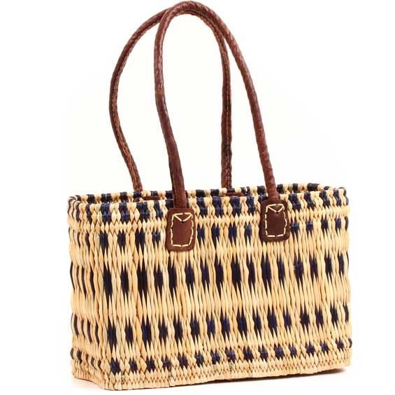 African Basket - Morocco - Small Navy Stripes Bulrush Tote - Approximately 13 Inches Across - #MR315-A