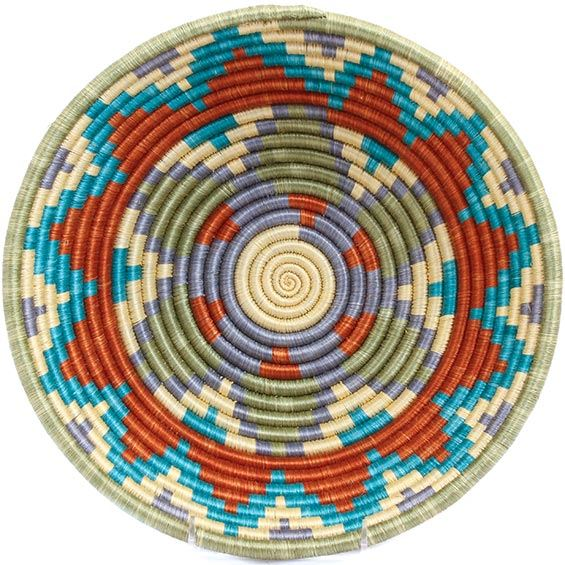 African Basket - Rwanda Sisal Coil Weave Bowl - 12 Inches Across - #33817