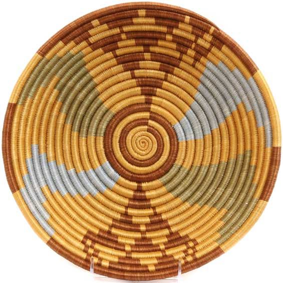 African Basket - Rwanda Sisal Coil Weave Bowl - 12 Inches Across - #33831