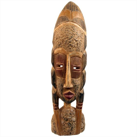 Traditional African Mask - Ashanti Mask - 21 Inches Tall - #33653
