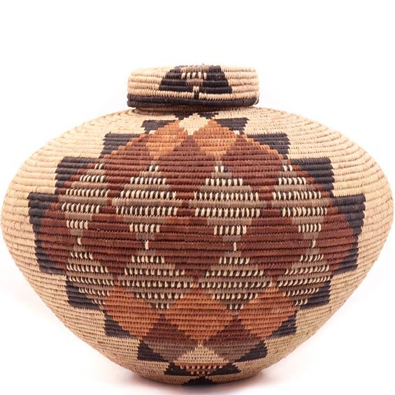 African Basket - Zulu Ilala Palm - Isichumo - 10 Inches Tall - #34972
