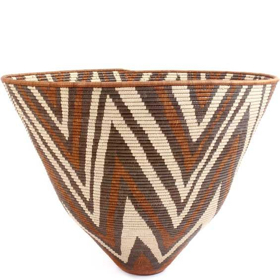 African Basket - Zulu Ilala Palm - Iqoma Bowl - 20.5 Inches Tall - #51202