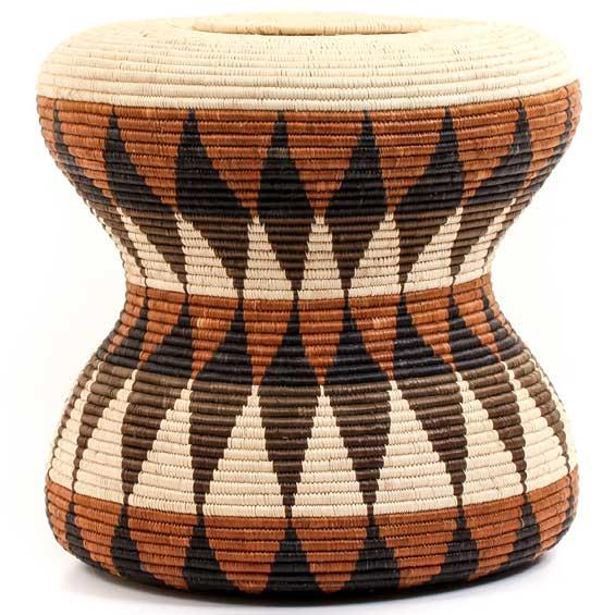 African Basket - Zulu Ilala Palm - Ukhamba Drum Shape - 13.75 Inches Tall - #57391
